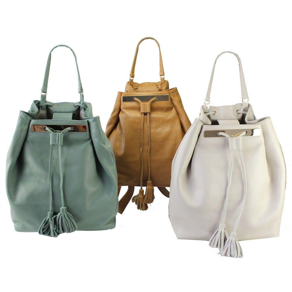 Nimes new retro leather back bags handbags by mika sei