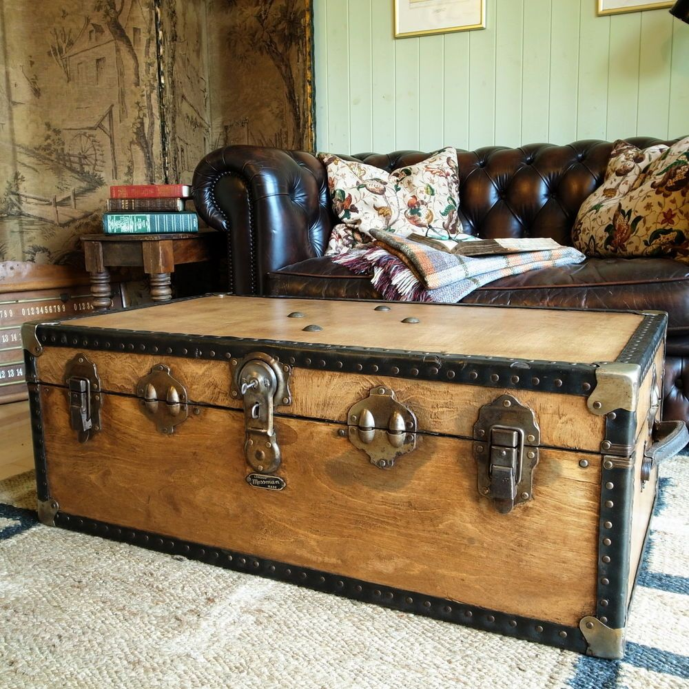 Beige Trunk Coffee Table: VINTAGE STEAMER TRUNK 30s Travel Trunk INDUSTRIAL CHEST