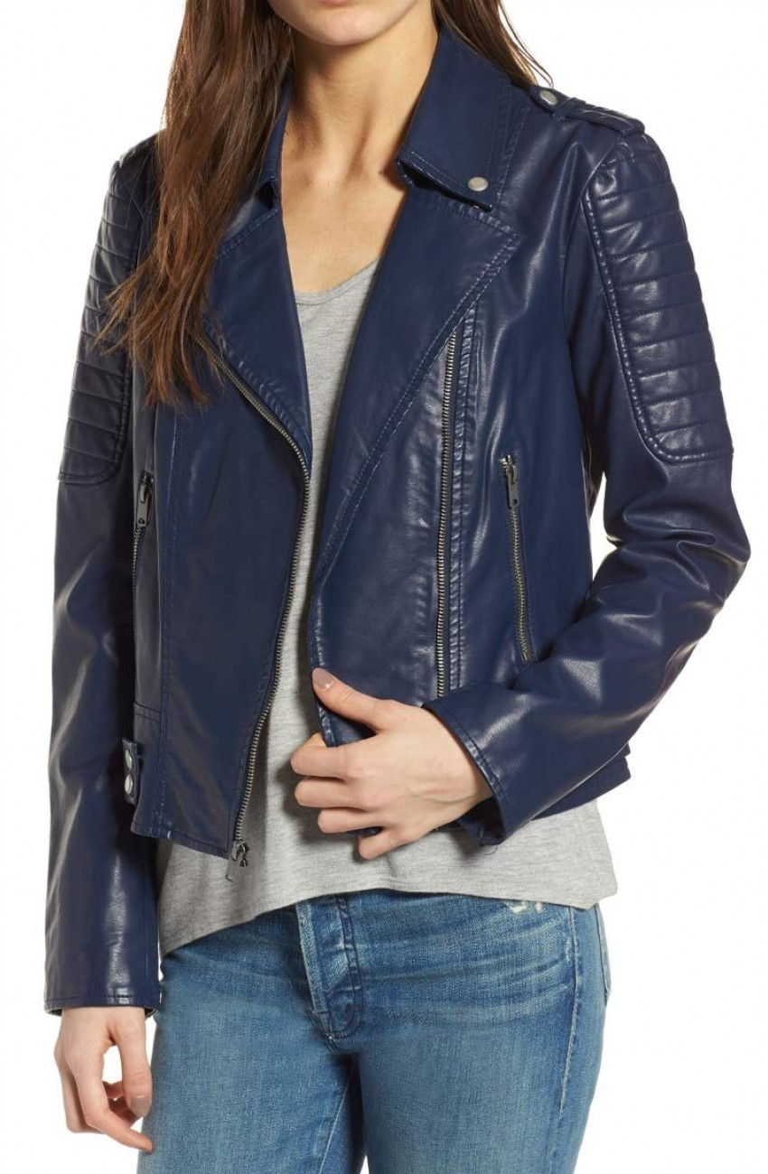 Asymmetrical Style Womens Blue Leather Jacket in 2020