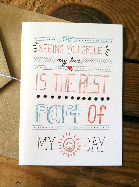Seeing You Smile My Love Valentine Card by ellolovey on Etsy