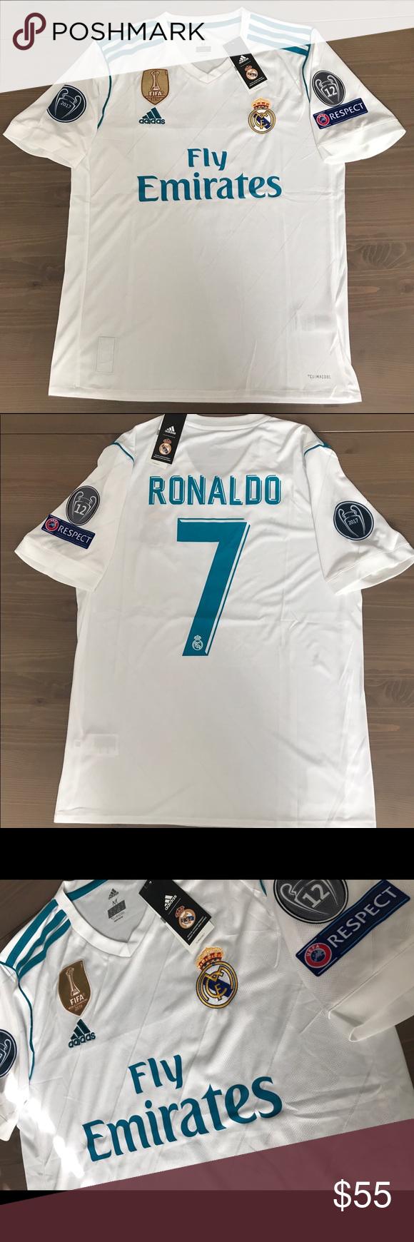e1cbc57fe Real Madrid 17 18 Ronaldo  7 adidas Jersey Real Madrid 17 18 Home white  Ronaldo  7 men adidas soccer jersey Champions league Gold fifa patch adidas  Shirts ...