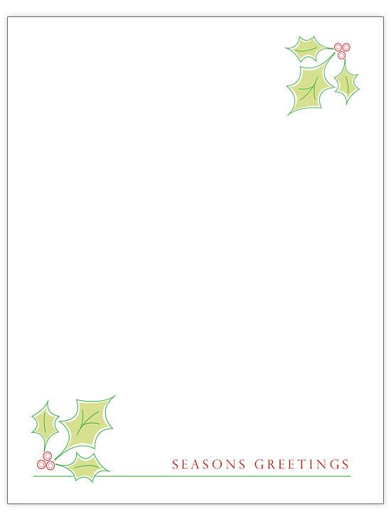a simple design gives you plenty of space to pass along your familys seasons greetings we love the pretty combination of light green holly leaves with a