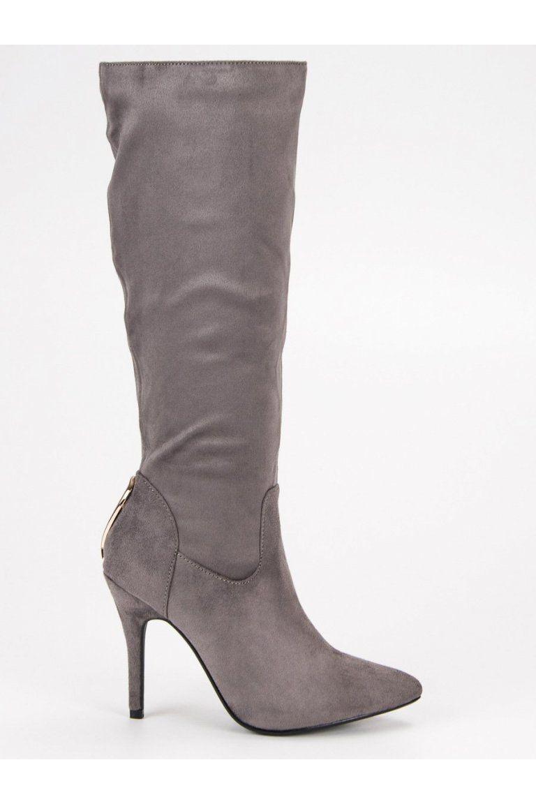 db1534b0cc Sivé čižmy pod koleno na ihlovom podpätku CM Paris