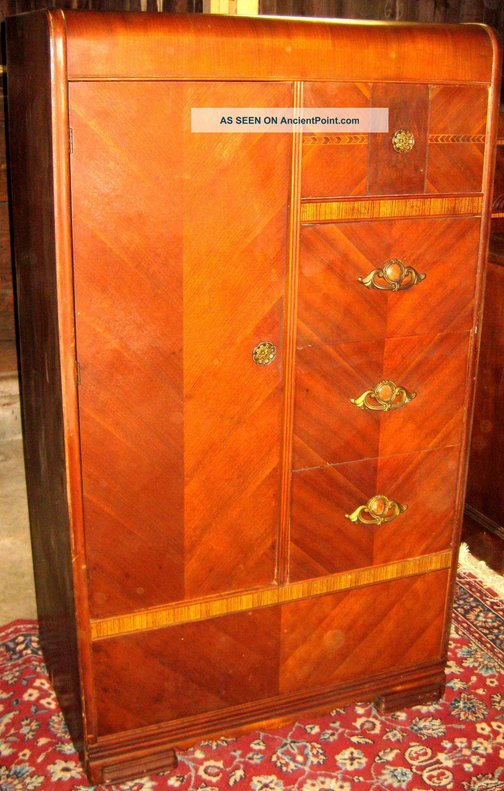 Vintage 1930 ' S 40 ' S Art Deco Waterfall Armoire ...