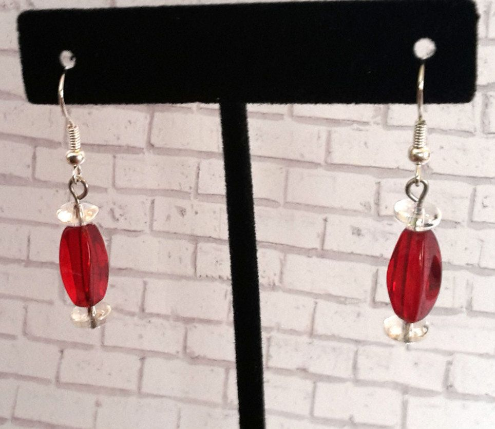 Red & Clear Rectangular Earrings by CinnamonCreations14 on Etsy
