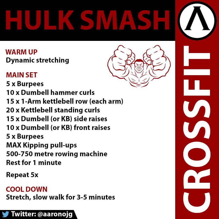 Crossfit Workout Routines: CrossFit WOD. Hulk Smash. Focus Is On Arms And Back, With