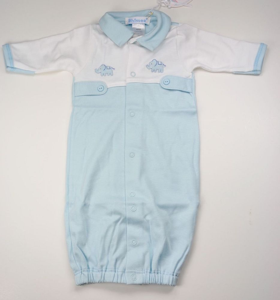 Shimoa Small Preemie Blue Elephant Converter Gown - 3-6 lbs