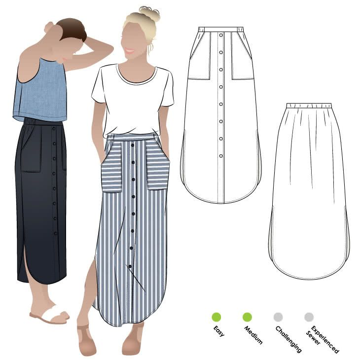 Indigo Maxi Skirt | Sewing patterns, Patterns and Elastic waist