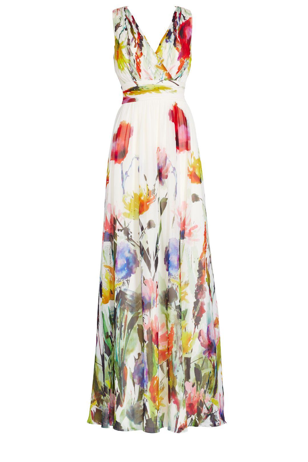 Badgley mischka painted petals maxi dress clothes pinterest