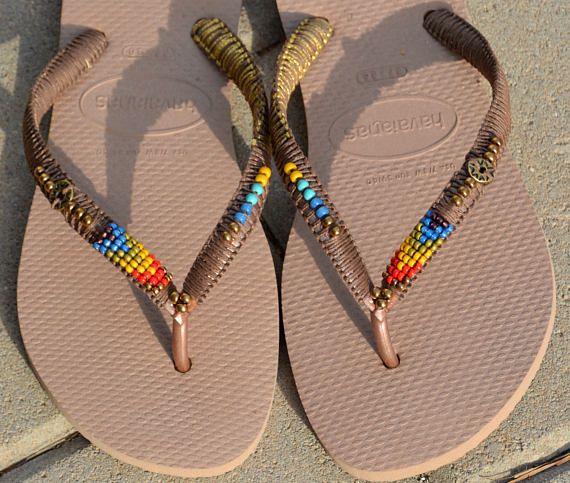 57ce4bd0f3e Flip Flops Beaded Flip Flops Rose Gold Havaianas Decorated