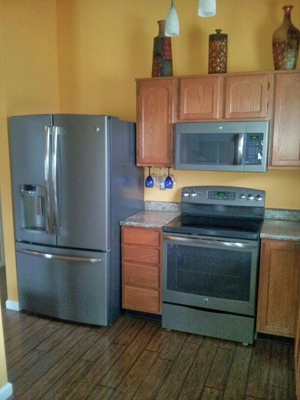 my kitchen with ge slate appliances slate appliances kitchen affordable farmhouse kitchen on kitchen appliances id=77547