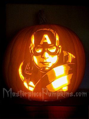 Captain America Is Here To Keep Everyone Safe For Halloween Patterns Available Fro Avengers Pumpkin Carving Marvel Pumpkin Carving Halloween Pumpkin Designs