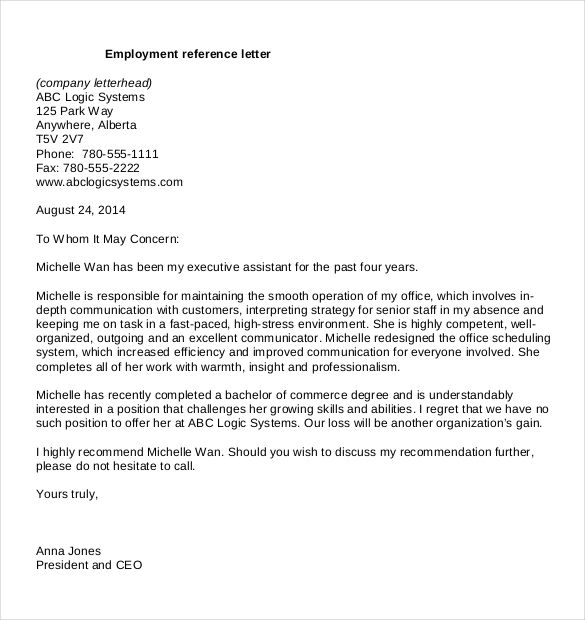 Reference Letter Templates Free Word Pdf Documents Download Resume