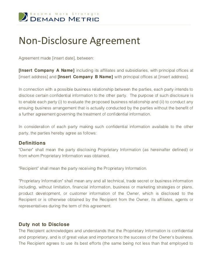 Printable Sample Non Disclosure Agreement Sample Form Real - demand note template