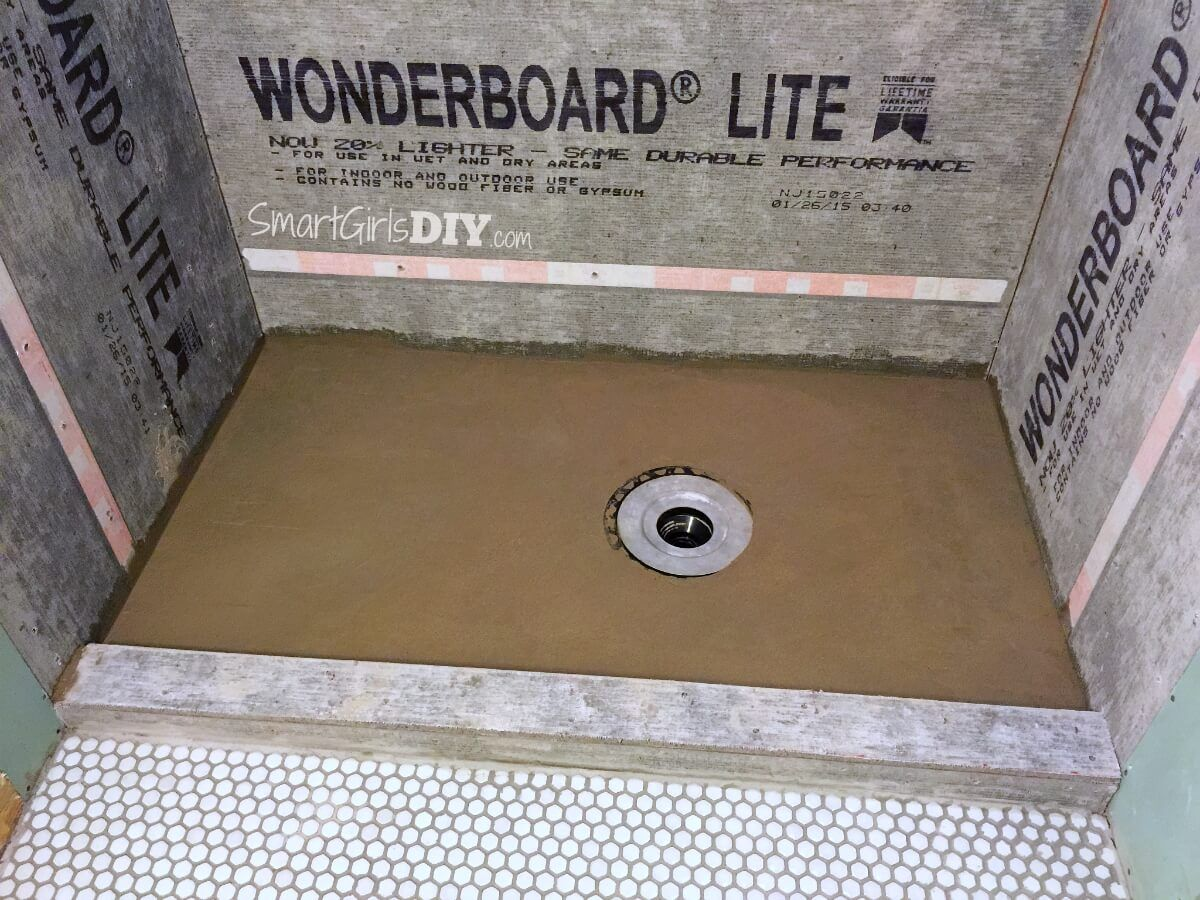 Finished My Diy Deck Mud Shower Pan With A Perfect Slope Diy Shower Pan Shower Pan Building A Shower Pan