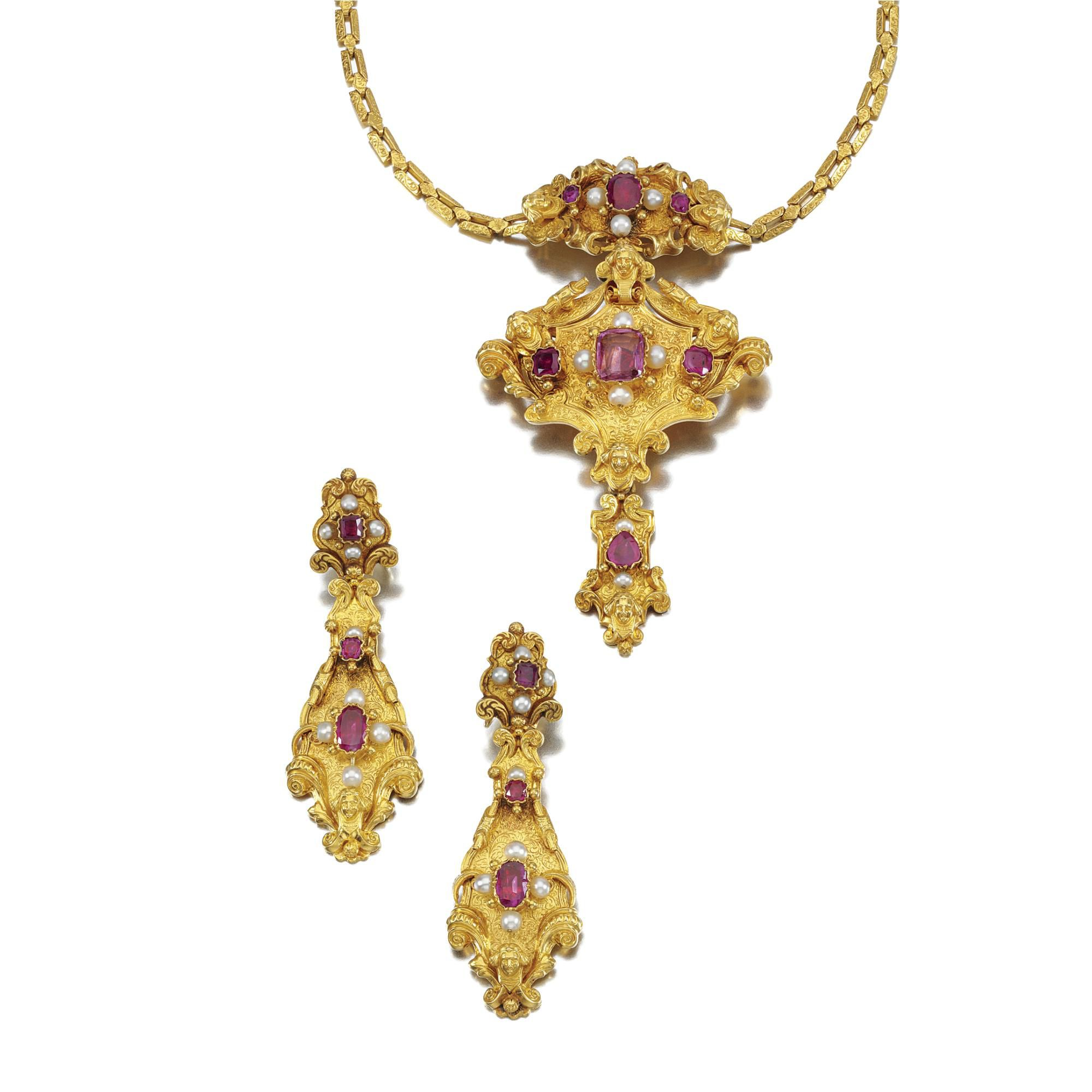 Gold ruby and pearl demiparure mid th century comprising a