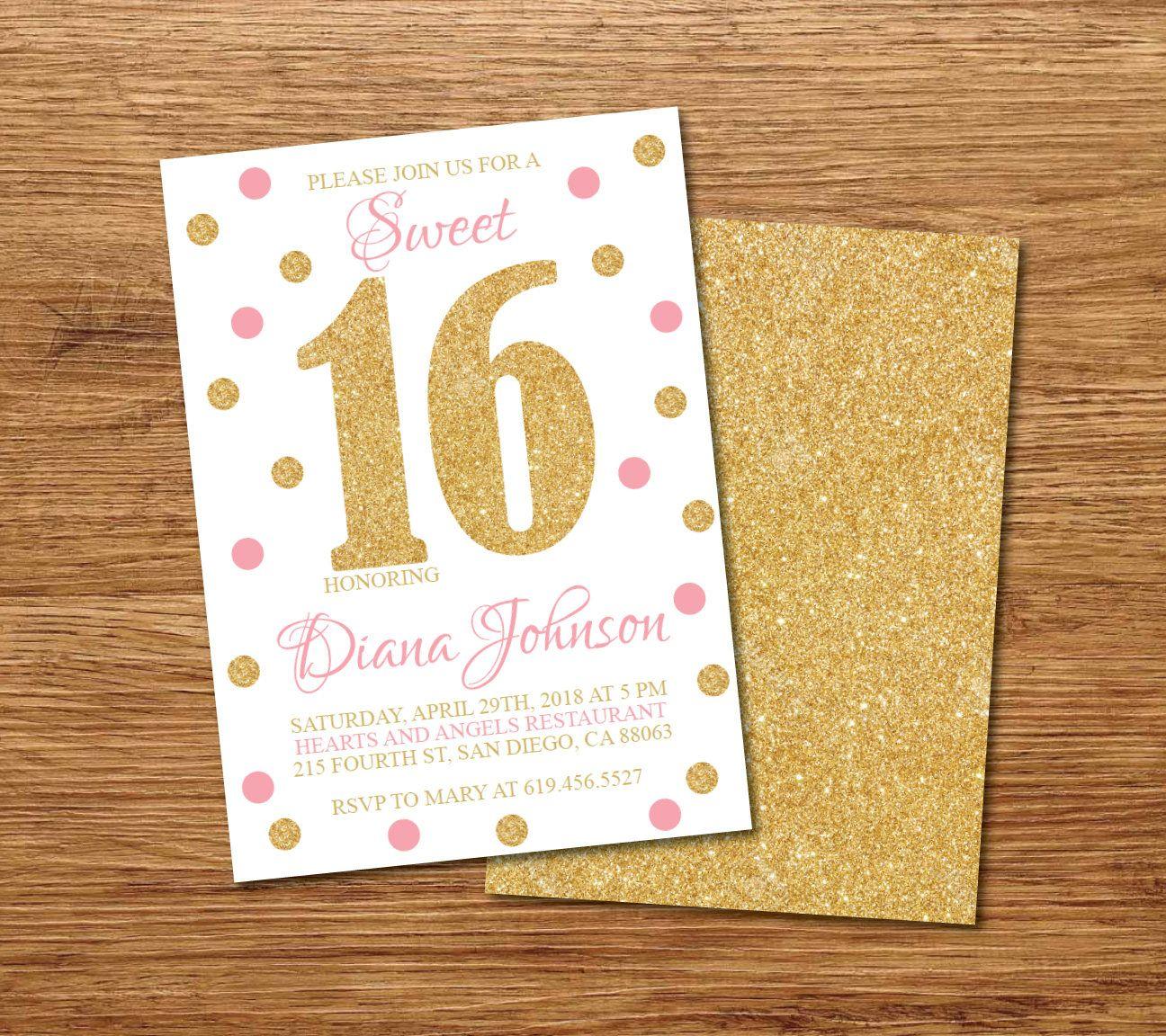 16th Birthday Invitation/Printable Gold, White & Pink Birthday ...