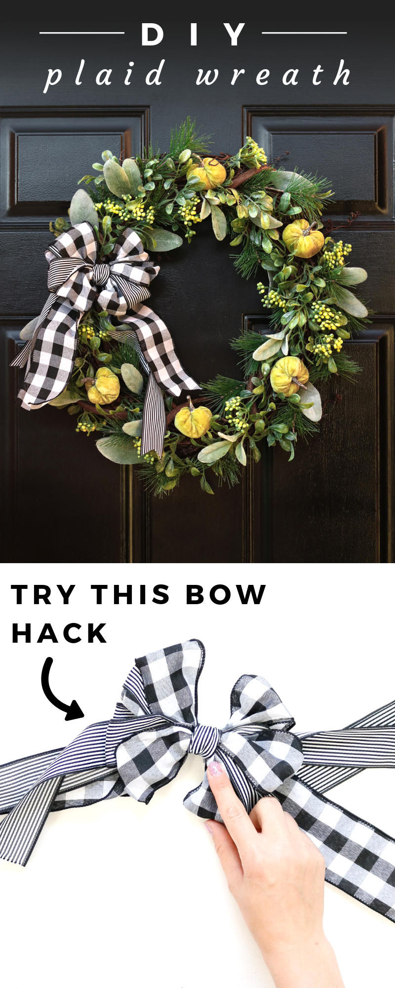 An easy take on a wreath bow and learn how to make this pretty pumpkin wreath! Perfect for fall or you can change the pumpkins up for flowers to make a spring wreath. #fallwreath #plaidwreath #plaidfall #diywreath