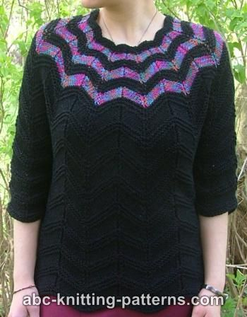 Free Knitting Pattern Womens Sweaters Falling Stars Top Down