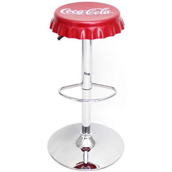 Coca-Cola Bottle Cap Bar Stool (€78) ❤ liked on Polyvore featuring home, furniture, stools, barstools, retro stool, retro counter stools, retro furniture and retro bar stools