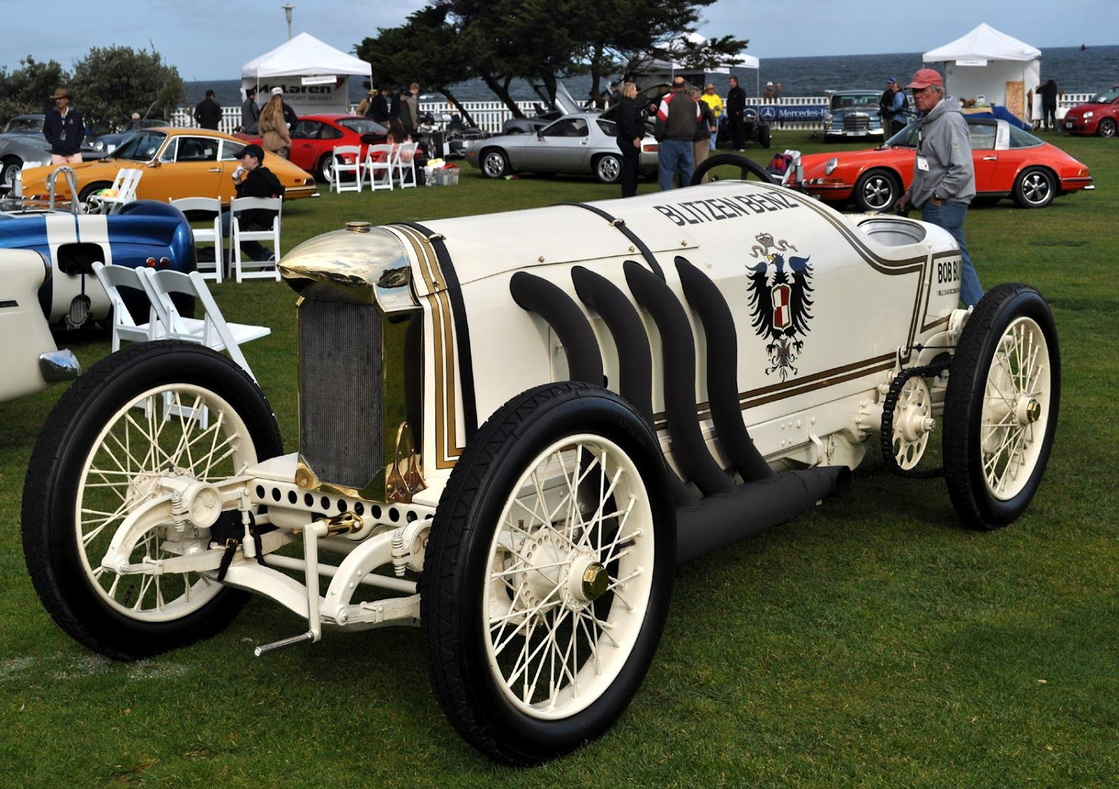 The Most Outstanding Car At The Lajolla Concours De Elegance Was The Legendary Blitzen Benz Land Speed Record Setting Automobile Fro Benz Car Vintage Race Car