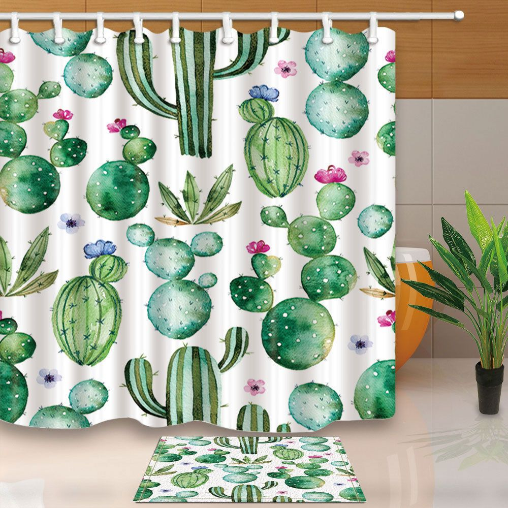 3 89 Watercolor Cactus Plants Shower Curtain Bedroom Waterproof