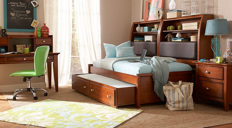 Santa Cruz Cherry 7 Pc Twin Bookcase Daybed Bedroom From Furniture Alluring Twin Bedroom Sets Design Ideas