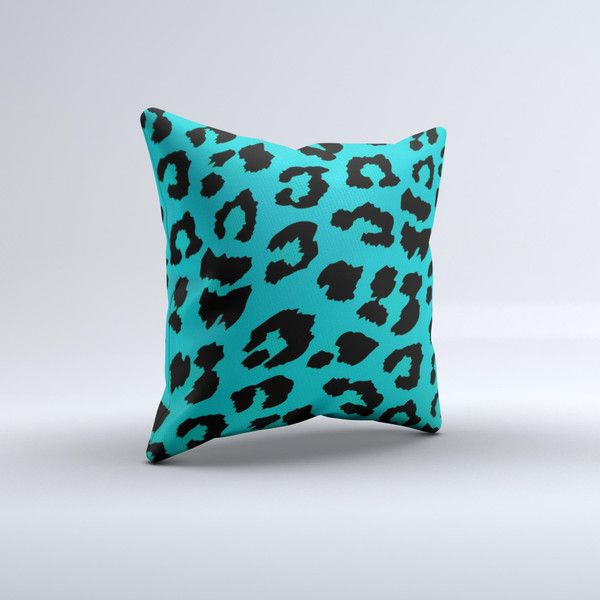 Hot Teal Vector Leopard Ink-Fuzed Decorative Throw Pillow (26 CAD) ❤ liked on Polyvore featuring home, home decor, throw pillows, decorative pillows, grey, home & living, home décor, handmade home decor, gray accent pillows and gray throw pillows