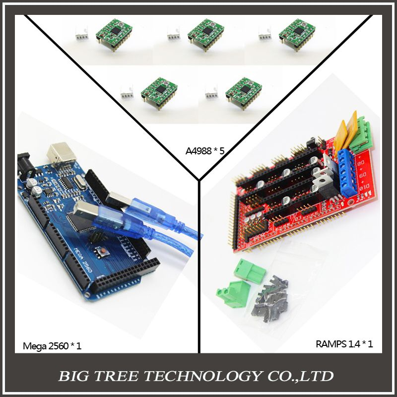Free shipping Mega 2560 R3 + 1pcs RAMPS 1.4 Controller + 5pcs A4988 Stepper Driver Module + USB cable for 3D Printer diy kit