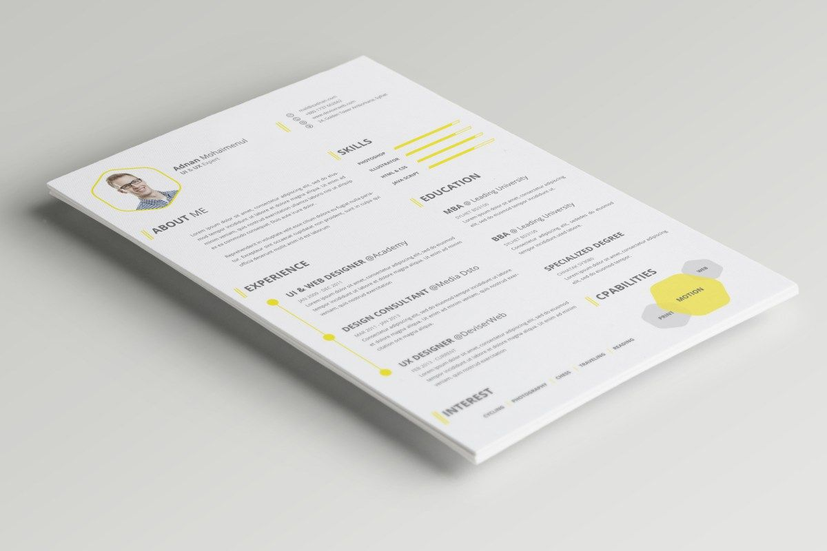 Professional CvResume Psd Template With Cover Letter Enrolling A