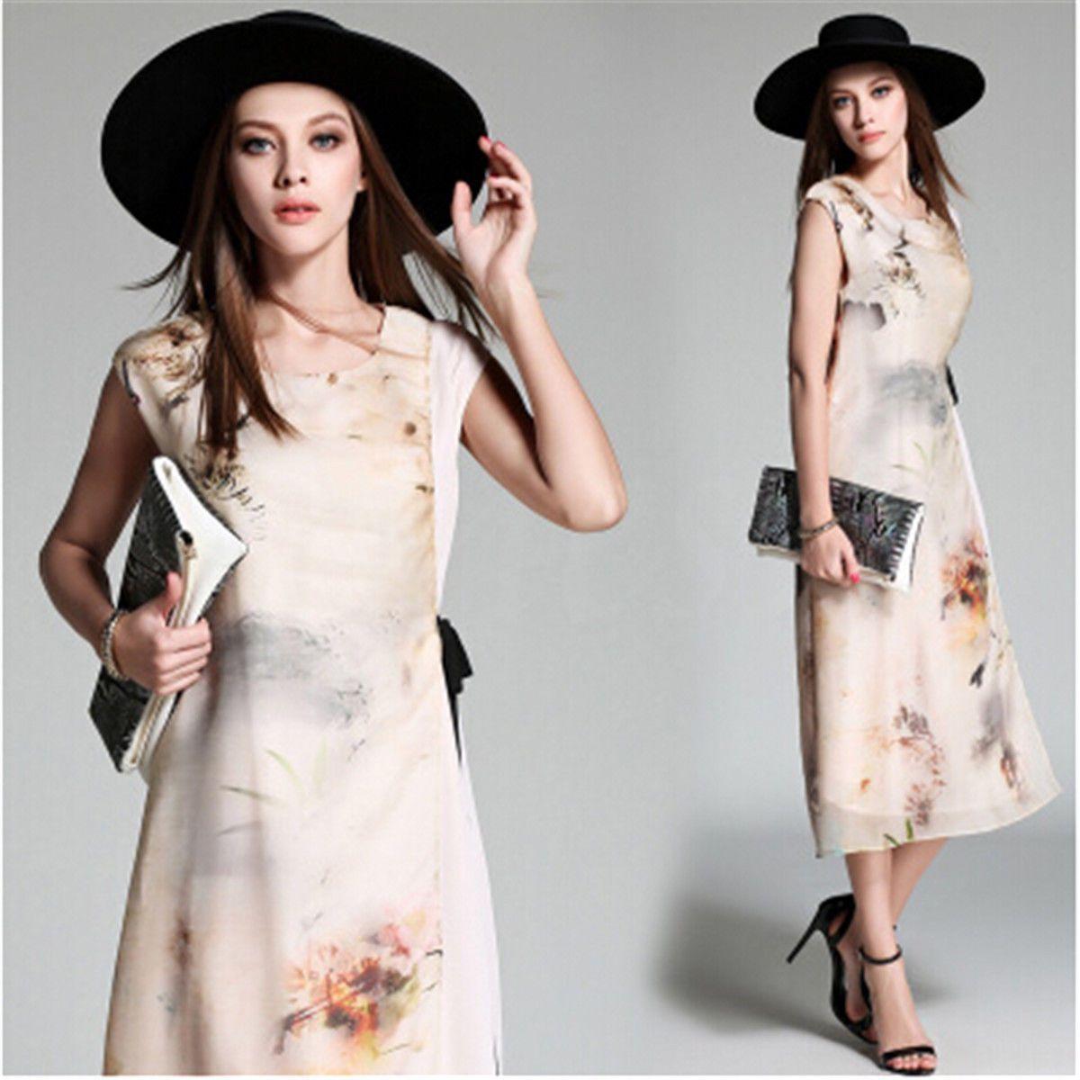 Women summer sleeveless round neck dress silk casual loose floral