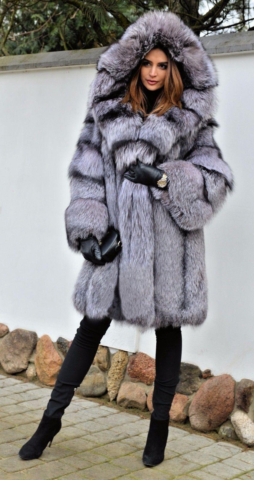 33e7a22286b0 Silver Hooded Fox Fur Coat in 2019