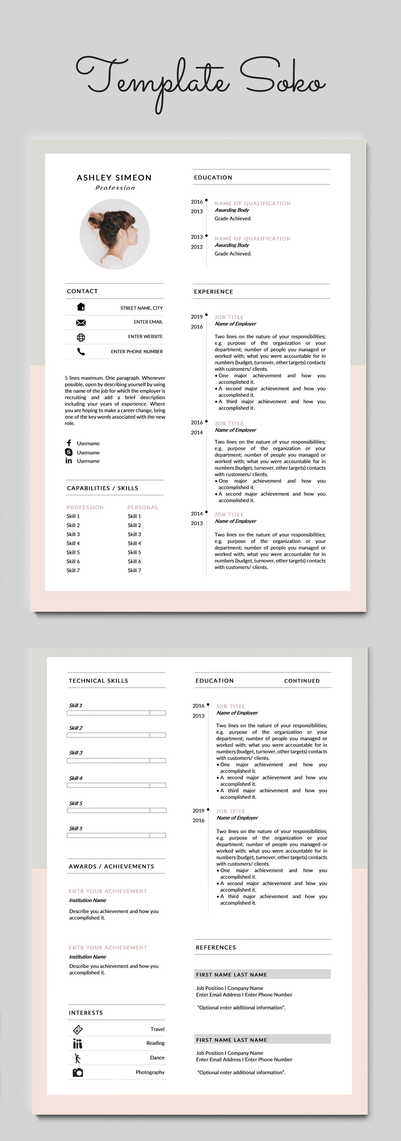 Cv Design Resume Template Word Cv Template Curriculum Etsy Modele De Cv Creatif Design Cv Creatif Curriculum Vitae