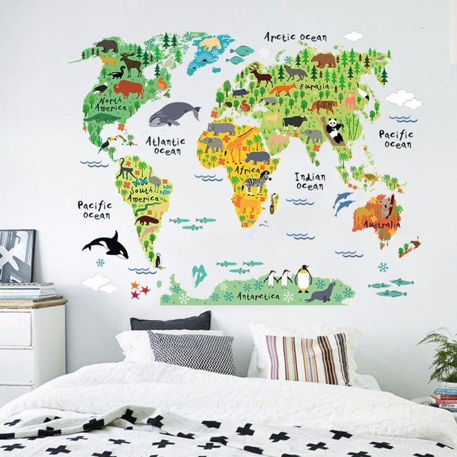 Special price world map poster nature animal sticker home dec special price world map poster nature animal sticker home dec funny bedroom for children joy wall sticker decal poster wall paper home decor just only 489 gumiabroncs Choice Image