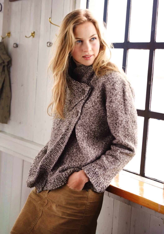 Damenjacke Mit Schalkragen Stricken Pinterest Knitting