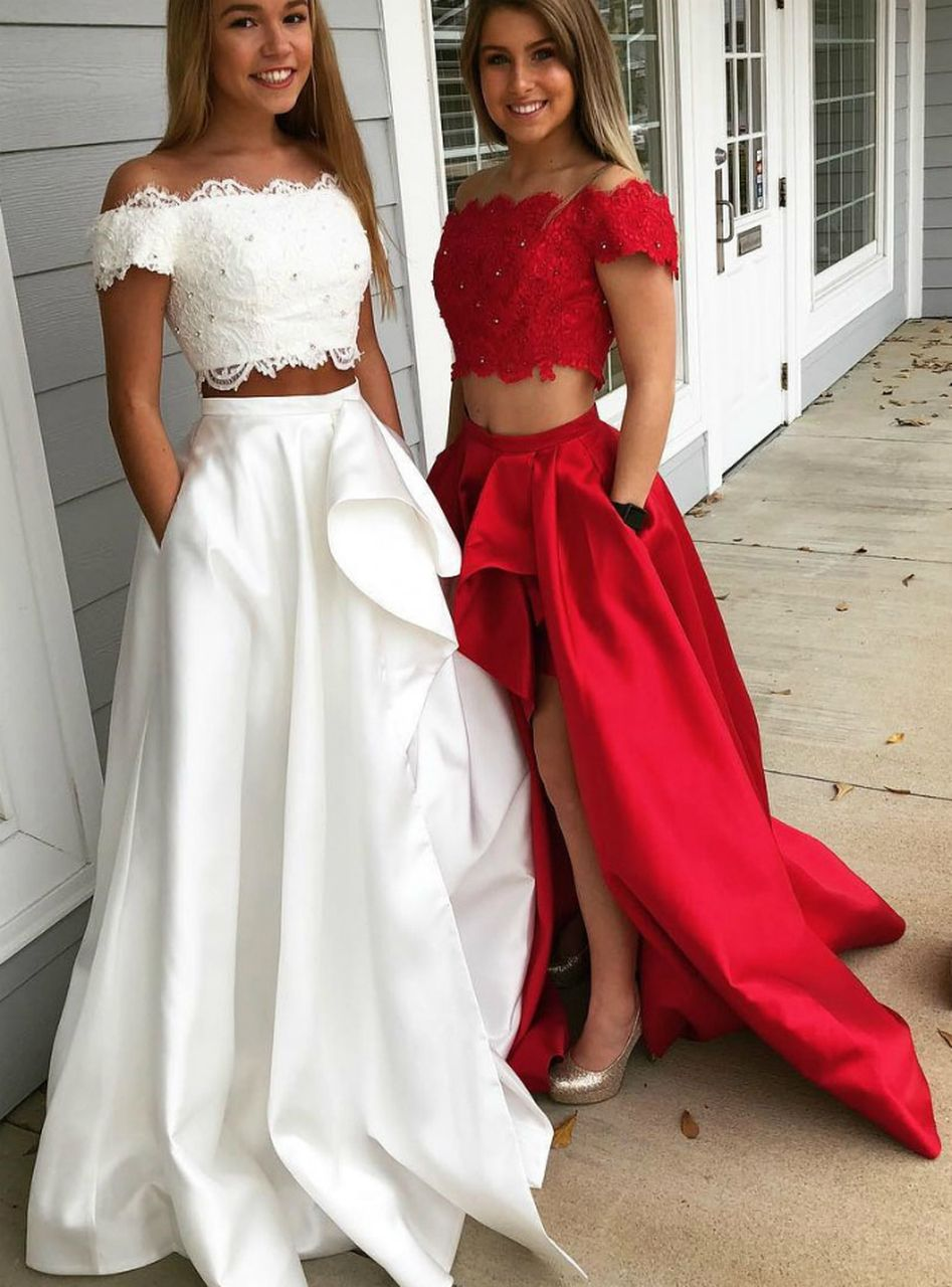 Two Piece Lace Applique Off The Shoulder Prom Dress Cute Prom Dresses Prom Dresses With Sleeves Prom Dresses For Teens [ 1280 x 947 Pixel ]