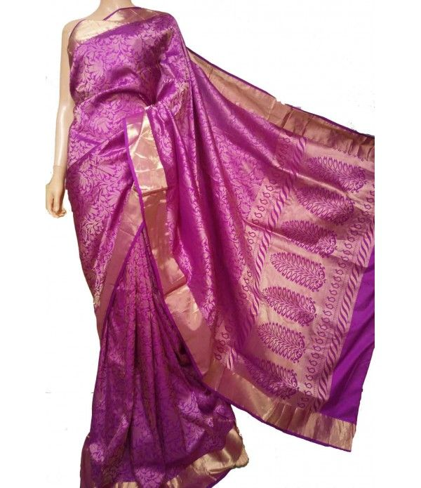 Purple Pure Tissue Silk Banarasi Saree LWBSK075