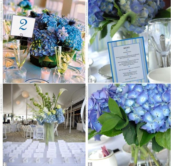 Flowers For A Wedding Reception: Chocolate Brown & Blue Reception Decor