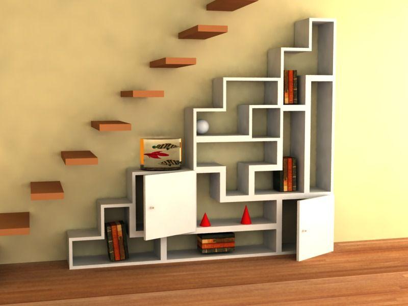 Biblioteca tetris ideal para decorar en espacios peque os for Diseno de escaleras para espacios pequenos