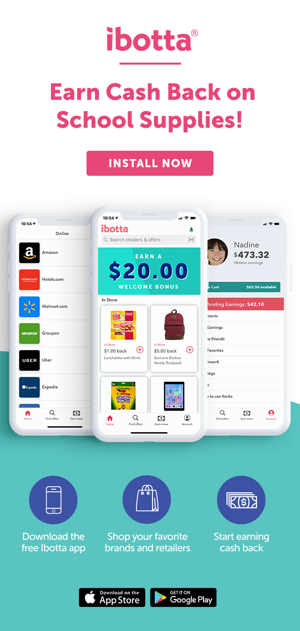 Earn REAL CASH when you buy school supplies, groceries