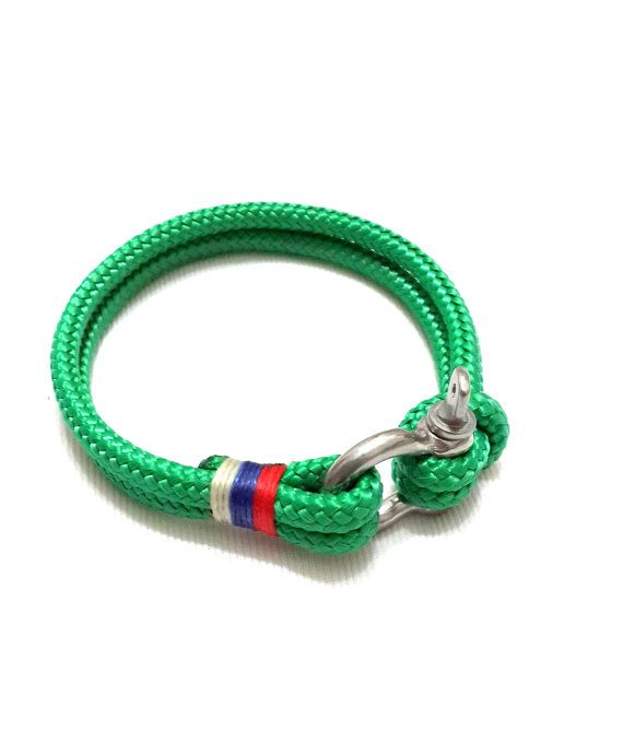 Nautical Sailing Bracelet Stainless Steel Shackle Paracord Mens Rope Green 2