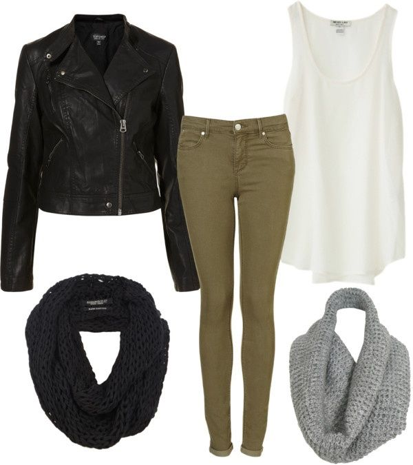 Eleanor Calder inspired outfit with black and grey snoods by eleanorcalder-style featuring skinny fit jeansTop, $250 / Leather biker jacket / Skinny fit jeans / AllSaints scarve / ReLuxe knitted shawl, $54