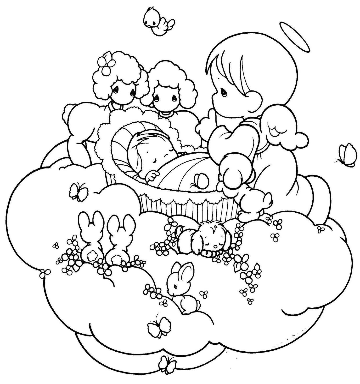 precious moments  sleeping baby  angel coloring pages