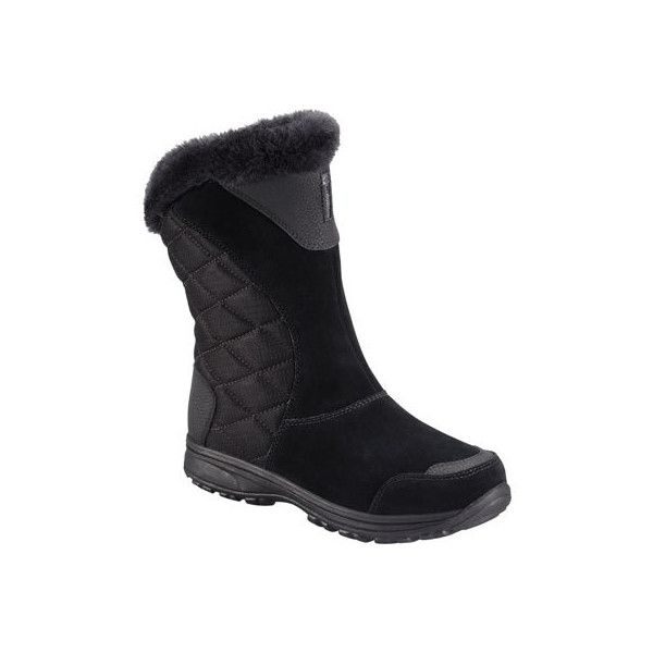 Women's Columbia Ice Maiden II Slip Boot - Black/Shale Casual ($80) ❤ liked on Polyvore featuring shoes, boots, black, columbia boots, black waterproof boots, black ankle boots, waterproof leather boots and leather boots