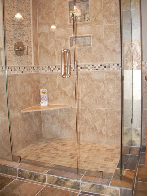 Cottage tiled showers how to tile a shower wall ideas for Bathroom porcelain tile designs
