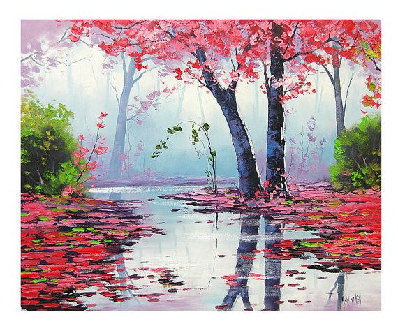 MISTY PINK PAINTING trees river impressionist by GerckenGallery, $319.00