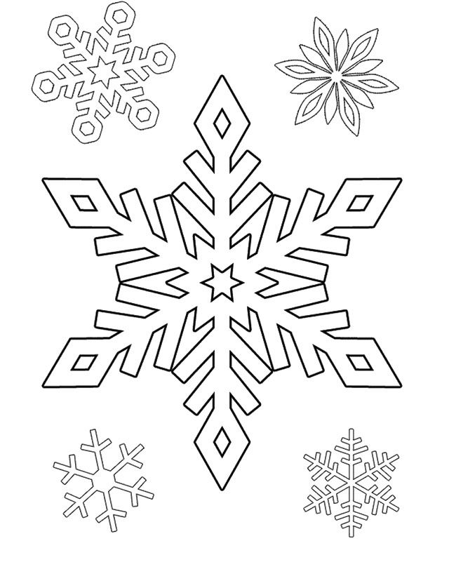 The Snowflake One And Four Small Coloring Pages Snowflake