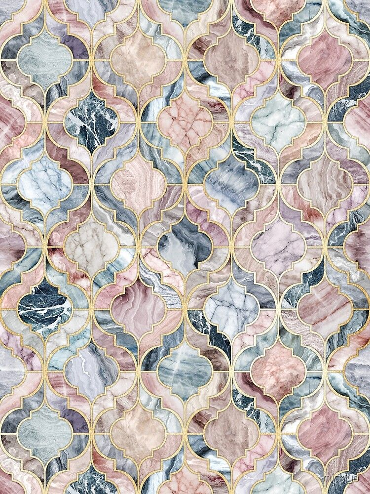 Marble Moroccan Tile Pattern Art Print by micklyn