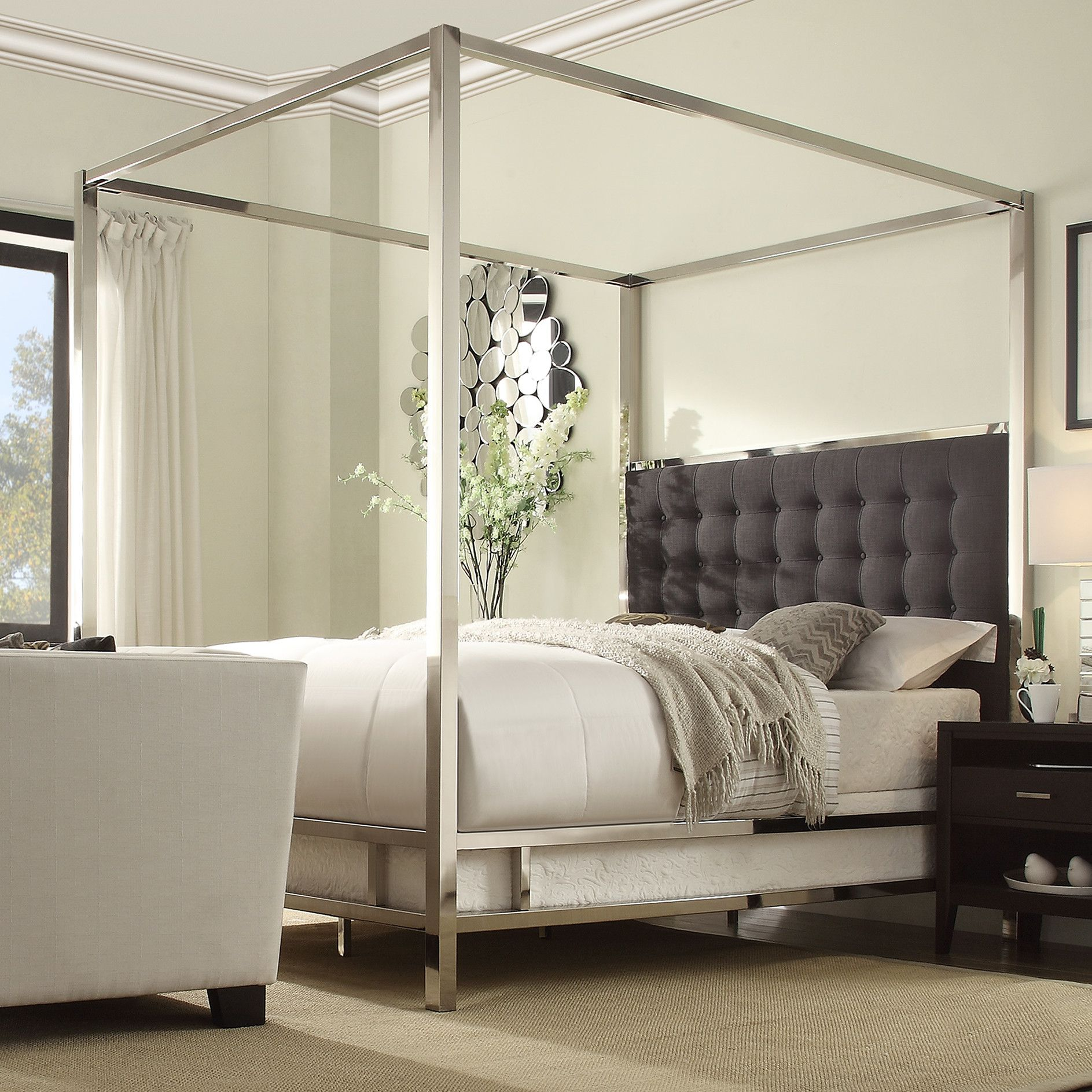 Master bedroom with 4 poster bed  Jasper Upholstered Canopy Bed  Bedroom  Pinterest  Canopy