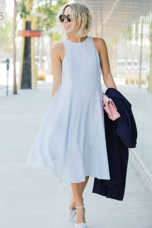 justthedesign:  Baby blue is such a cute colour -Jacey Duprie's dress is perfect for summer days! Shops: Not Specified